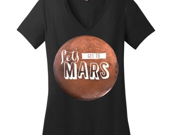 Outer Space Shirt Mars Shirt Space Tshirts for Women V Neck Shirts for Women Science Teacher Shirts Science Teacher Gifts for Teachers