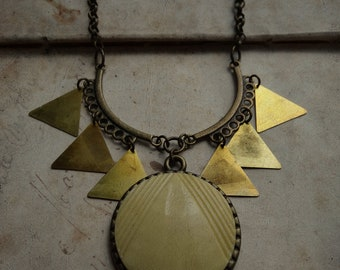 Geometric Art Deco Button Necklace - Metropolis
