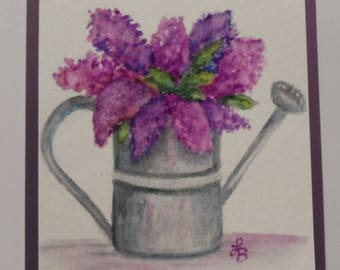 Lilacs Card Lilacs Greeting Card Lilacs Watercolor Card Watercolor Flowers Watercolor Lilacs Card