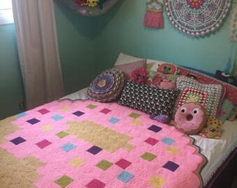Pixel Donut Blanket - Crochet Pixel Donut Blanket Pattern