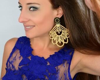 Gold Lace Earrings, Gold Chandelier Earrings, Long Earrings, Handmade Earrings, Bohemian Earrings, Statement Earrings,Boho Chic Jewelry,Boho