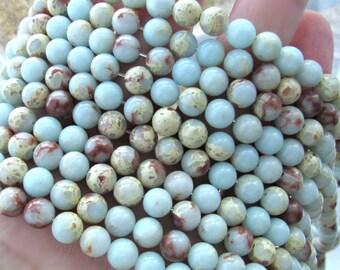 African opal, 6mm, impression jasper, aqua terra jasper, 6mm beads, Jasper beads, aqua beads, blue beads, gemstone beads, 6mm gemstone beads
