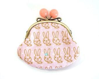 Rabbit metal frame purse, kiss lock purse, coin purse