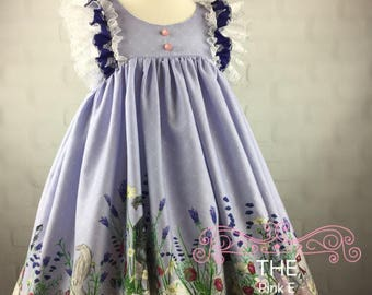 Playful Kittens Dress, Baby, Toddler, Girls, Spring Dress, Special Occasion, Ruffles, Lavender