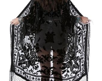 Moon Chaser Brocade Velvet Burnout Fringe Kimono - Black