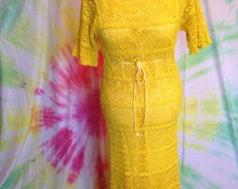Vintage Yellow Lace Maxi Dress