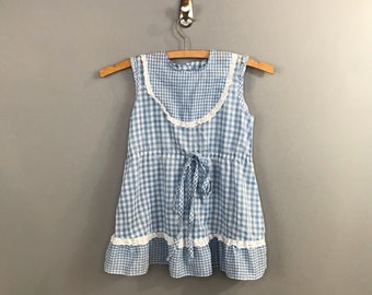1950s Blue Girls Dress / Vintage Pastel Blue Gingham Little Girls Dress / Floral 3T Toddler 4T
