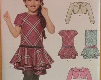 Pattern Girl's Child's Kid's Jacket and Bias Dress 0610 6319 Simplicity New Look New Uncut Factory Fold Size 3-8