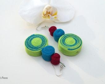 Neon Green Turquoise Maroon Felt Dangle Earrings OOAK Eco-Friendly