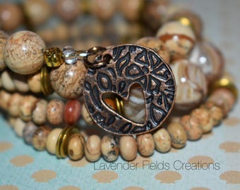 Picture Jasper and Shell Beads Memory Wire Bracelet (201826B)