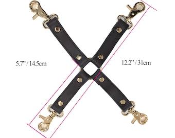 BDSM 4-way, hog-tie, Brown Cow  Leather, connector for bondage cuffs, restraints,bdsm accessory, bondage restraint,bondage hogtie(mature)