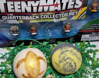 Just for Boys Gift Set-Football Surprise Bath Bombs-Natural Organic Handmade Kid Bath Bomb-Bath Fizz-Surprise NFL player mini figure inside