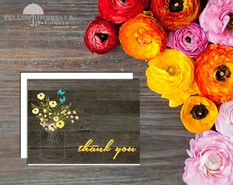 Rustic Mason Jar Thank You Cards with Envelopes - Set of 12