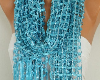 Turquoise Ribbon Scarf, Wedding Shawl,Bridal Scarf, evening wrap,Birthday Gift Bridesmaid Gift Gift Ideas for Her,Women Fashion Accessories