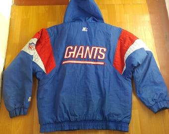 NFL New York Giants Jacket, vintage crewneck sweatshirt, football, 90s hip-hop clothing, 1990s hip hop, gangsta rap, OG, nylon, size L Large