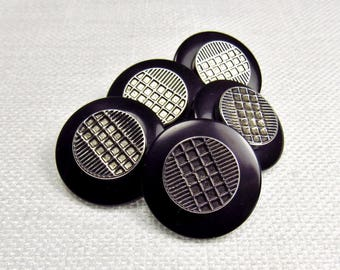 """Silver Grids: 3/4"""" (19mm) 2-Piece Faux Silver Metal and Black Plastic Buttons - Set of 5 Matching Buttons"""