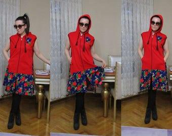 Red Sweater, Upcycled Boho Hippie Vest, Tunic Vest, Festival Clothing, 1X 2X Plus size Sweater Vest eco clothing, Dress gypsy teen clothing