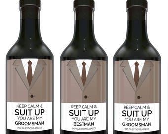 Keep Calm & Suit UP!, You Are My Bestman?, You Are My Groomsmen?, Mini Wine Bottle No Questions Label Stickers, Groomsman Proposal Set mw138