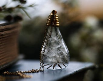 Gold dandelion necklace , make a wish , dandelion wish necklace ,simple gold necklace , Irish jewellery , gift for bride  #D11 #D12