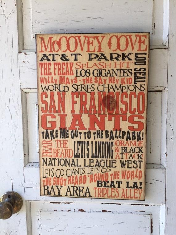 San Fransico Giants Sign On Wood- San Fransico Giants Art- Giants Decor For Guy- San Fransico Giants Baseball Decor- Baseball Gift For Him