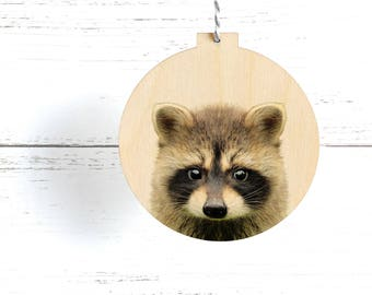 Woodland Racoon Animal Christmas Ornament, Eco Friendly Decoration, Wooden Animal Ornament, Modern Rustic Decoration, Wooden Racoon Ornament
