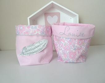 Liberty baskets storage baskets custom Liberty betsy pink blotter silver feather