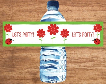 Instant Download Ladybug Party Water Bottle Labels