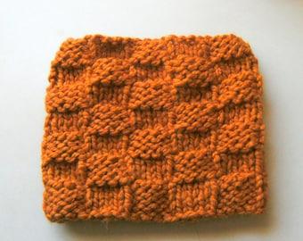 Knit Neckwarmer Cowl  Orange Wool Blend Free Shipping