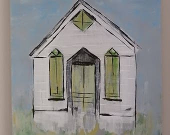 Soft Green Door County Church - large 16 x 20 inch painting