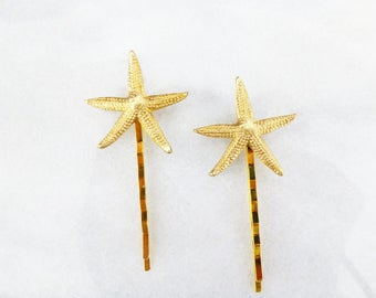 Mermaid Hair Clips Gold Starfish Bobby Pins Beachy Ocean Sea Star Accessories Girls Sister Best Friend Girlfriend Wife Womens Gift For Her