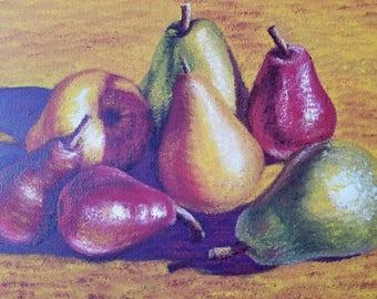 Oil Paintings - Sesillie Girelli original signed - Seven Pears Still life