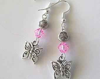 Butterfly earrings charm earrings crystal bead dangle earrings pink faceted crystal bead silver tone boho earrings hippie earrings gift.