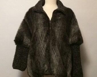Vintage Faux Fur & Knit Coat