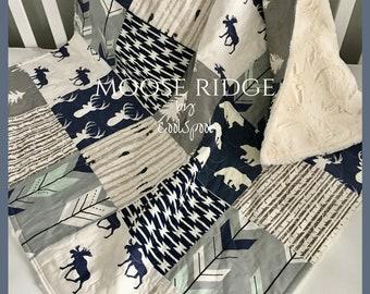Baby Quilt Boy, Navy Gray Crib Bedding, Woodland Nursery Boy, Deer Baby Bedding, Navy Gray Nursery, Chevron Baby Quilt, Moose Ridge