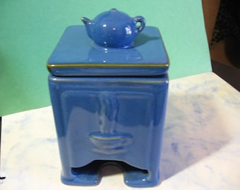 "Vintage Tea Bag Caddy, Ceramic holder with lid, 3.25"" x 3.25"" x 4.25"" to top of lid, tea pot on top"