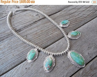 ON SALE Turquoise necklace handmade and signed in sterling silver by a Navajo silversmith