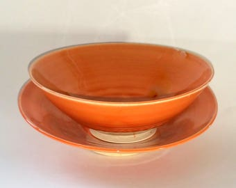 Set of 2 (Two) Orange Bowls - Wheel Thrown and Chattered Pottery - One Deep Little Bowl and One Shallow Little Bowl