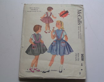 Vintage McCalls Pattern 2028 Girls Pinafore and Blouse