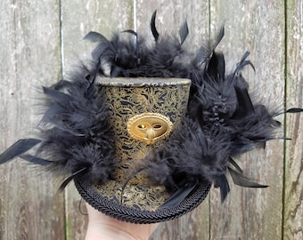 Mini top hat with lights, Steampunk, Mardi Gras, Halloween, Wedding, Festival