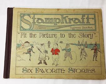 Stampkraft FIRST EDITION Vintage children's stamp book circa 1916. 6 Favorite Stories Peter Rabbit Three Bears Cinderella Philatelic Collect
