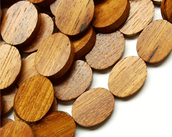 Wood Bead, Flat Oval 15x20mm, Bayong - 8 Inch Strand (WDOVF-20BY)