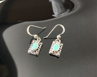 Sterling silver and turquoise stone inlay earrings  925 dangling hooks small delicate