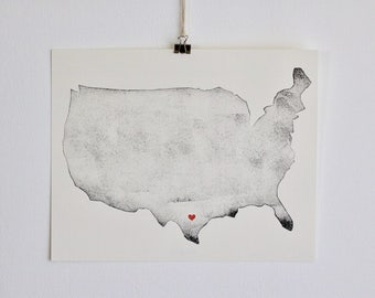 "United States Map Print w/ Customizable Heart 8"" x 10"" Unframed / Continental United States / Travel Map"