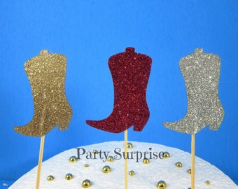 Cowboy Boots Cupcake Toppers Hot Pink Gold and Silver Glitter Boots Toppers Girl Cowboy Western Rhinestone Cowboy Glitter Cowboy Boots