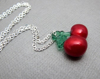 """CLEARANCE - Juicy Cherry Necklace // Red Acylic Cherry Charm // 17"""" Silver Chain // Retro // Gift under 10"""