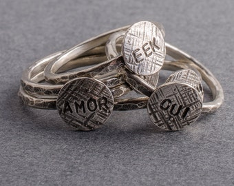 Word Silver Stacking Ring-Say Something-Choose your word
