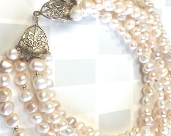 Freshwater Pearl Multi-strand Statement Necklace // pearl necklace // gifts for her // luxury // chunky necklace // pearls //