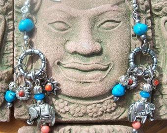 """Ethnic pattern """"elephant"""" unique earrings"""