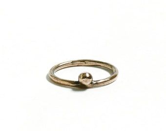 Simple Stacking Ring Bronze Ring Delicate Ring Small Ball Ring Bronze Thin Ring Stackable Bronze Ring Simple Ring