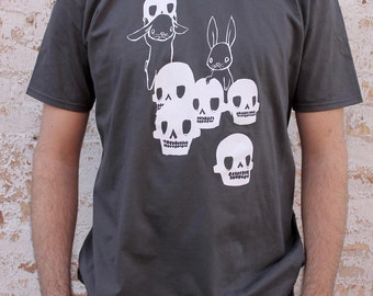 Mens Unisex T Shirt - The Skull Collectors - Gray and White - Skulls and Bunny Rabbits Design TShirt - Small Medium Large XL XXL Tees Sizes